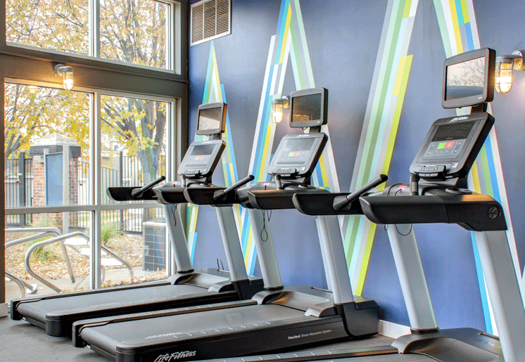 24-hour fitness center, cardio machines