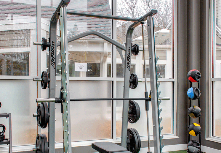 Free weights in fitness center, smith machine