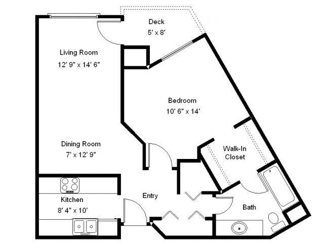 Ash Lake - 1 Bedroom Floor Plan 1