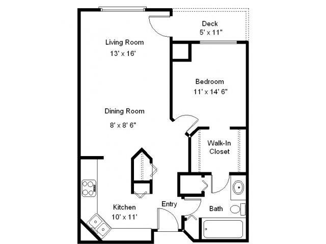 Bush Lake - 1 Bedroom Floor Plan 2