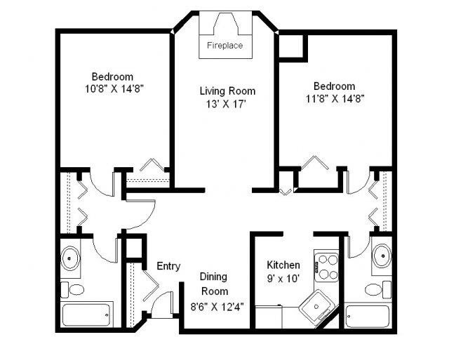 Echo Lake - 2 Bedroom Floor Plan 5