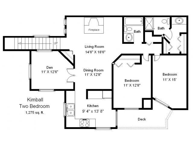 Lake Kimball - 2 Bedroom + Den Townhome Floor Plan 9