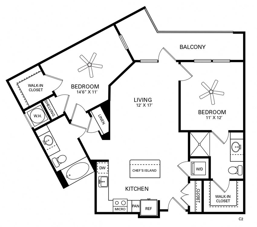 Gillings Floor Plan at Berkshire Chapel Hill, Chapel Hill