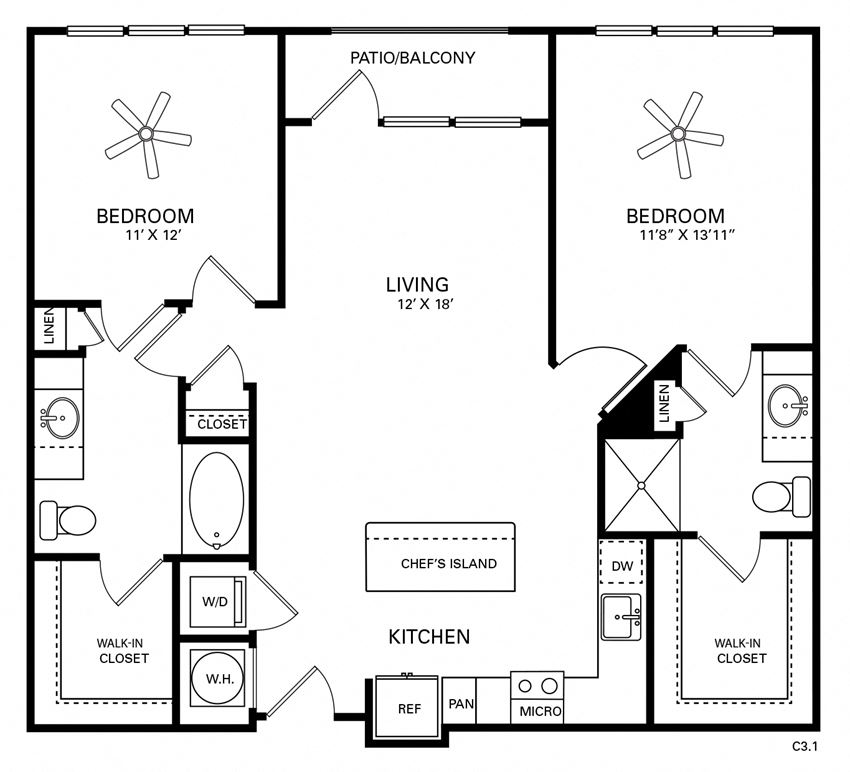 Hinton Floor Plan at Berkshire Chapel Hill, Chapel Hill, NC, 27514
