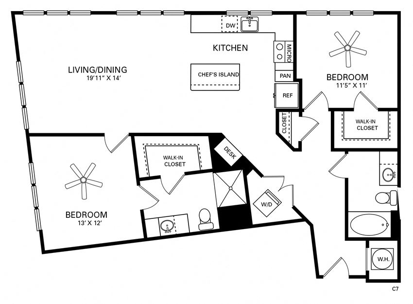 Jordan Floor Plan at Berkshire Chapel Hill, Chapel Hill, NC, 27514