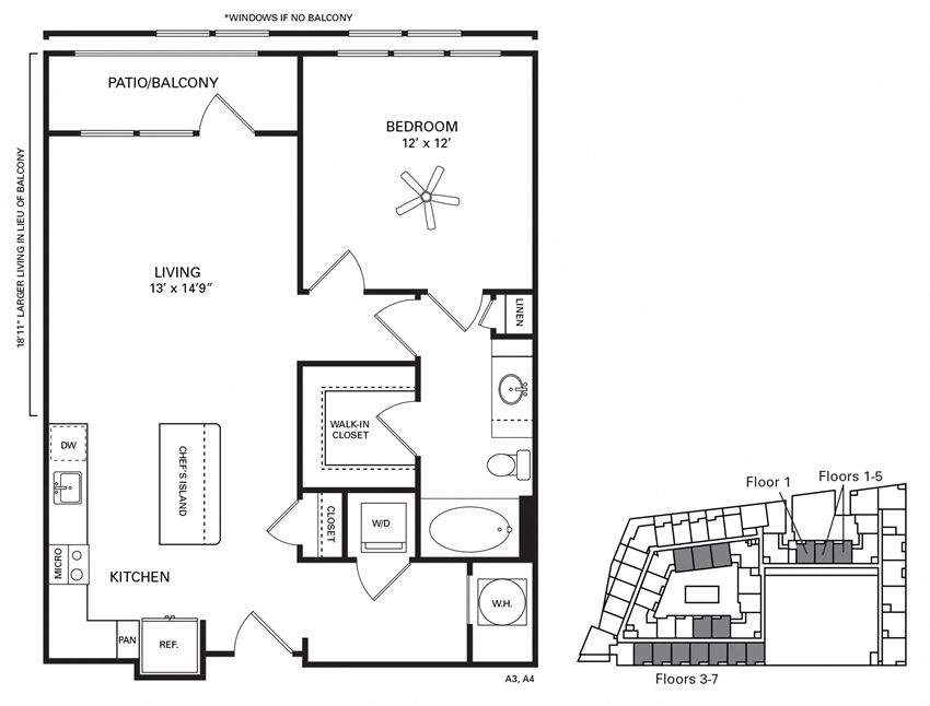 Kenan ADA accessible Floor Plan at Berkshire Chapel Hill, Chapel Hill, 27514