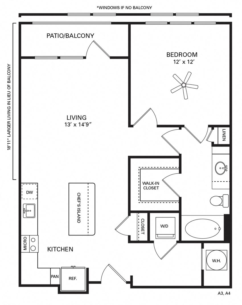Kenan Floor Plan at Berkshire Chapel Hill, Chapel Hill, 27514