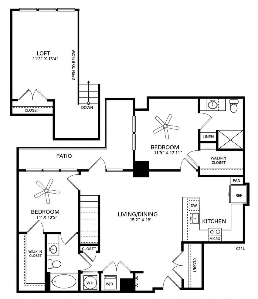 Robertson Floor Plan at Berkshire Chapel Hill, Chapel Hill