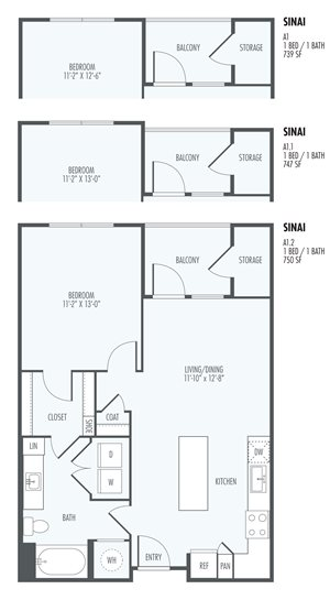 Sinai - One Bedroom layout at the Flats at San Tan, 2550 S. San Tan Village Parkway, Gilbert, AZ 85295