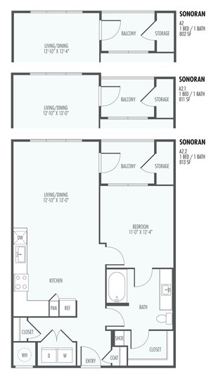 sonoran - One Bedroom layout at the Flats at San Tan, 2550 S. San Tan Village Parkway, Gilbert, AZ 85295