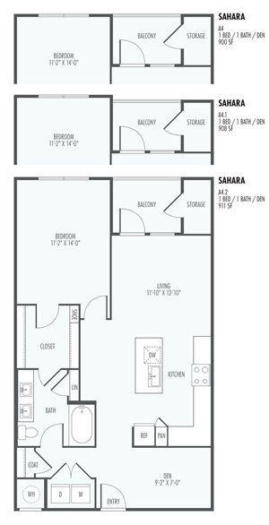 Sahara One Bedroom Layout  at the Flats at San Tan, 2550 S. San Tan Village Parkway, Gilbert, AZ 85295