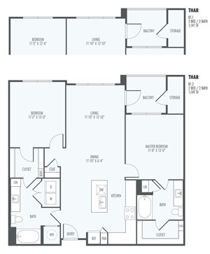 Thar Two Bedroom Layout at the Flats at San Tan, 2550 S. San Tan Village Parkway, Gilbert, AZ 85295