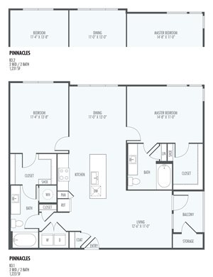 Pinnacles - Two Bedroom Layout at the Flats at San Tan, 2550 S. San Tan Village Parkway, Gilbert, AZ 85295