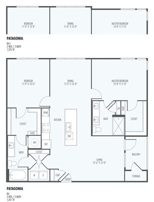 Patagonia  - Two Bedroom Layout at the Flats at San Tan, 2550 S. San Tan Village Parkway, Gilbert, AZ 85295