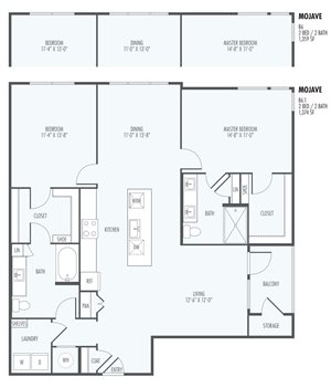 Mohave  - Two Bedroom Layout at the Flats at San Tan, 2550 S. San Tan Village Parkway, Gilbert, AZ 85295