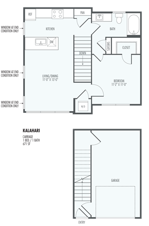 Kalahari - Garage Included - One bedroom Layout at the Flats at San Tan, 2550 S. San Tan Village Parkway, Gilbert, AZ 85295