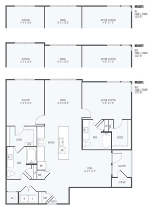 Monte - One Bedroom layout at the Flats at San Tan, 2550 S. San Tan Village Parkway, Gilbert, AZ 85295