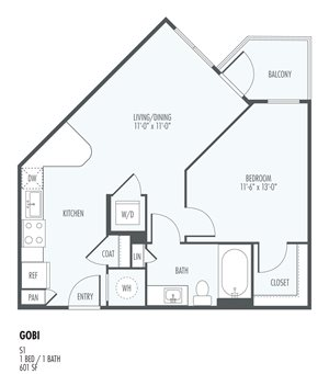 Gobi - One Bedroom Layout at the Flats at San Tan, 2550 S. San Tan Village Parkway, Gilbert, AZ 85295