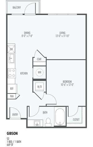 Gibson - One Bedroom Layout at the Flats at San Tan, 2550 S. San Tan Village Parkway, Gilbert, AZ 85295