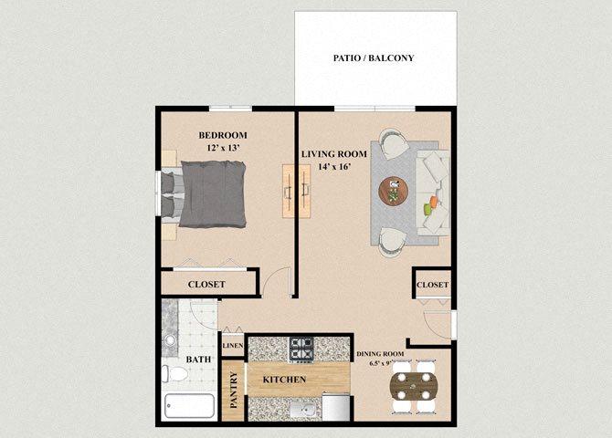 One Bedroom One Bathroom Floor Plan at Mission Hills