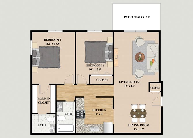 1 & 2 Bedroom Floor Plans At Mission Hills Apartments In