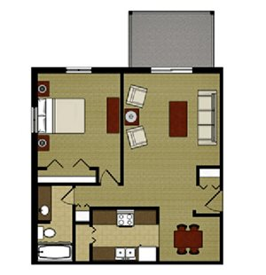 One Bed One Bath Floor Plan at Mission Hills Apartments, Franklin, WI, 53132