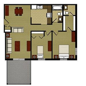 Two Bed Two Bath Floor Plan at Mission Hills Apartments, Franklin, WI