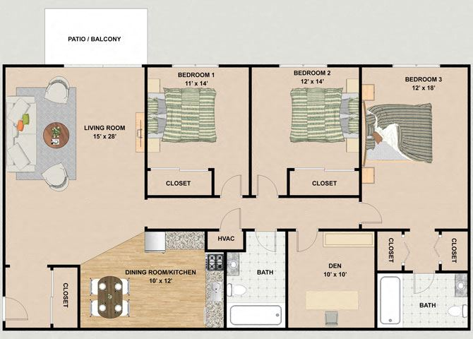 Amethyst 3 Bedroom 2 Bathroom Floor Plan at River Place