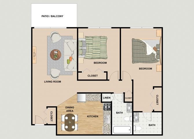 Emerald 2 Bedroom 2 Bathroom Floor Plan at River Place