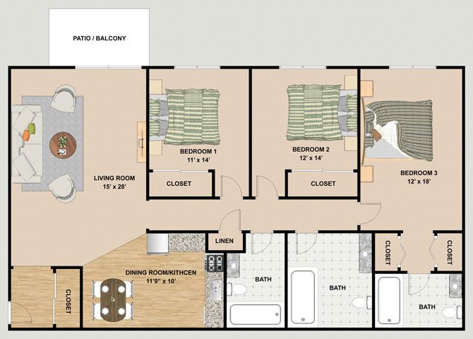 Pearl 3 Bedroom 3 Bathroom Floor Plan at River Place