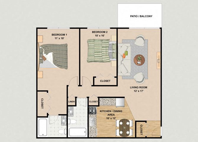 Ruby 2 Bedroom 2 Bathroom Floor Plan at River Place