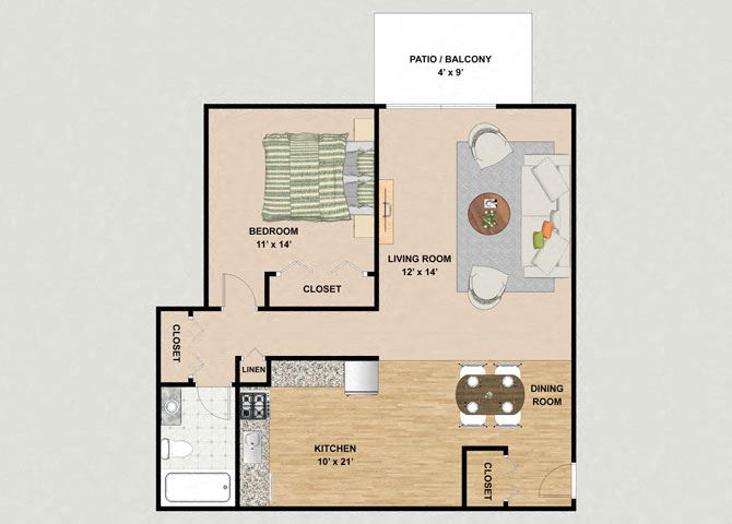 Topaz 1 Bedroom 1 Bathroom Floor Plan at River Place