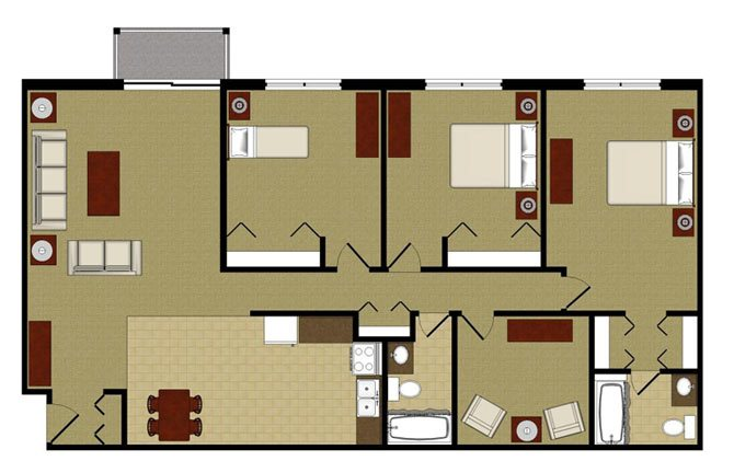 The Amethyst 3 Bedroom 2 Bathroom Floor Plan at River Place Apartments, Milwaukee, WI, 53209