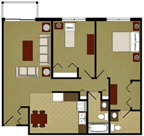 The Emerald 2 Bedroom 2 Bathroom Floor Plan at River Place Apartments, Milwaukee, WI