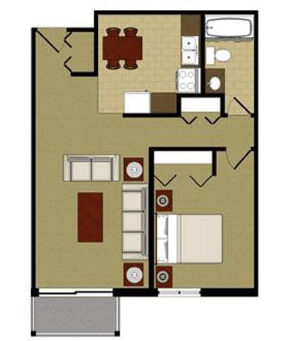 The Opal 1 Bedroom 1 Bathroom Floor Plan at River Place Apartments, Milwaukee, 53209