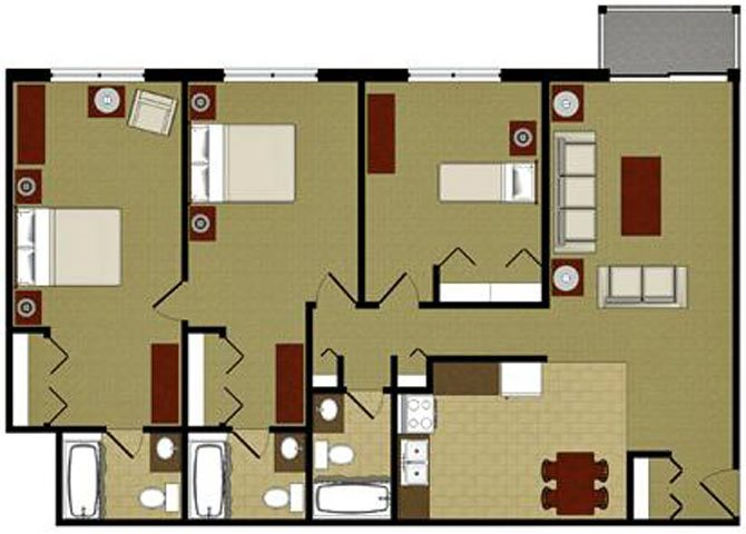 The Pearl 3 Bedroom 3 Bathroom Floor Plan at River Place Apartments, Milwaukee, Wisconsin