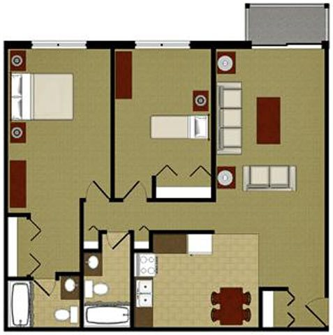 The Ruby 2 Bedroom 2 Bathroom Floor Plan at River Place Apartments, Milwaukee