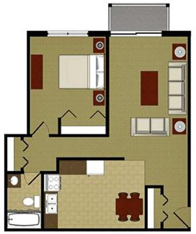 The Topaz 1 Bedroom 1 Bathroom Floor Plan at River Place Apartments, Wisconsin
