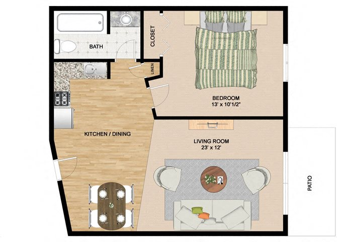 Specious 1 Bedroom 1 Bathroom Floor Plan at Springtree Apartments, Middleton, 53562