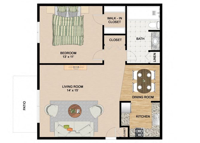 Specious 1 Bedroom and 1 Bathroom Floor Plan at Springtree Apartments, Middleton, WI