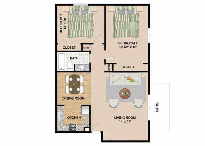 2 Bedroom 1 Bathroom Floor Plan at Springtree Apartments, Middleton