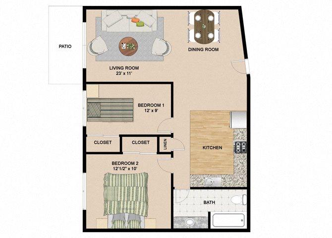 1 Bedroom 1 Bathroom Floor Plan at Springtree Apartments, Wisconsin