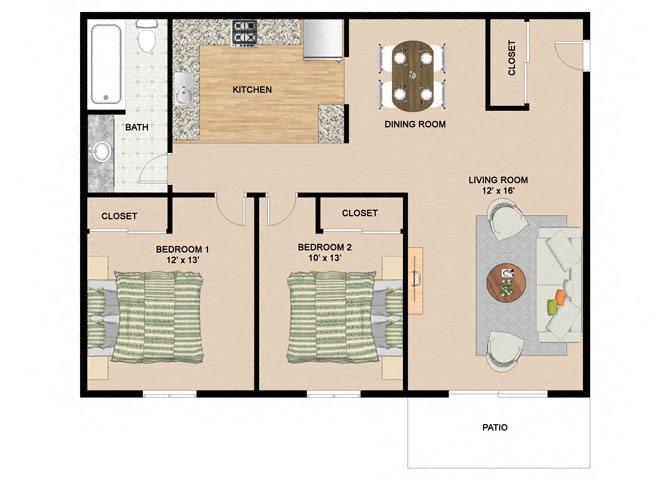 2 Bedroom 1 Bathroom Floor Plan at Springtree Apartments, Wisconsin, 53562