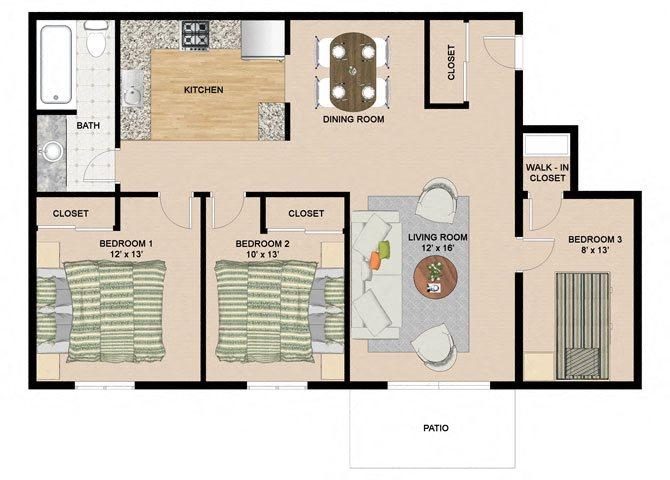2 Bedroom 1 Bathroom Floor Plan at Springtree Apartments, Middleton, WI