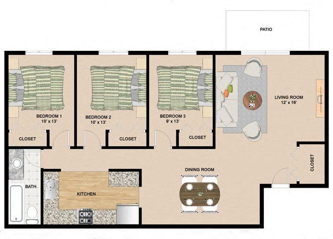 3 Bedroom 1 Bathroom Floor Plan at Springtree Apartments, Middleton, WI