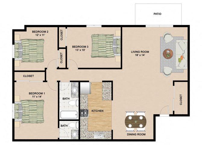 3 Bedroom 1.5 Bathroom Floor Plan at Springtree Apartments, Middleton, WI, 53562