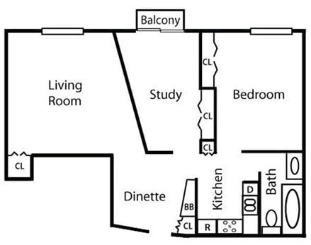 1 Bedroom 1 Bathroom with Study Floor Plan at Springtree Apartments, Middleton, 53562
