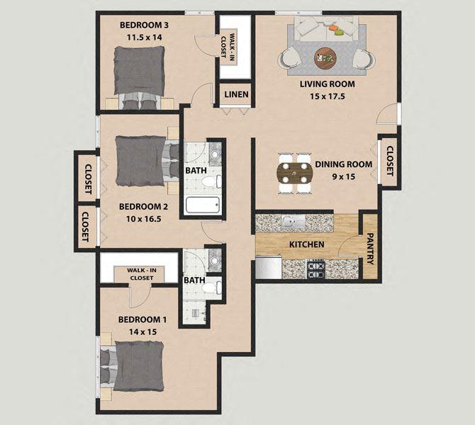 Cottonwood 3 Bedroom 2 Bathroom Floor Plan at The Meadows