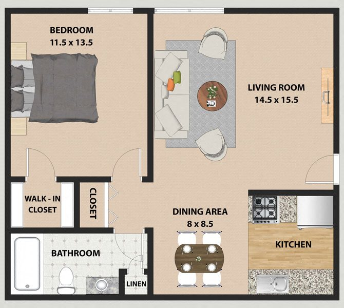 Maple 1 Bedroom 1 Bathroom Floor Plan at The Meadows