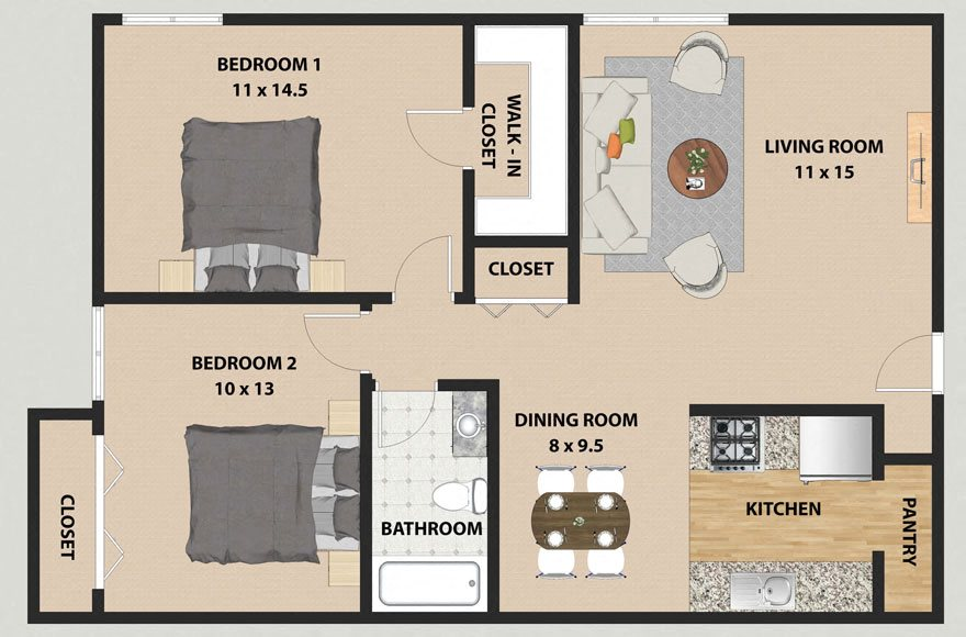 Oak 2 Bedroom 1 Bathroom Floor Plan at The Meadows